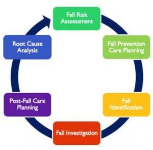 An example of a fall-risk management system cycling from Fall risk assessment to fall prevention care planning, fall identification, fall investigation, post-fall care planning, and to root cause analysis.