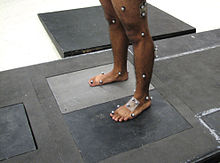 Subject standing on Kistler force plate wearing reflective markers attached to skin to identify body landmarks and 3D motion of body segments