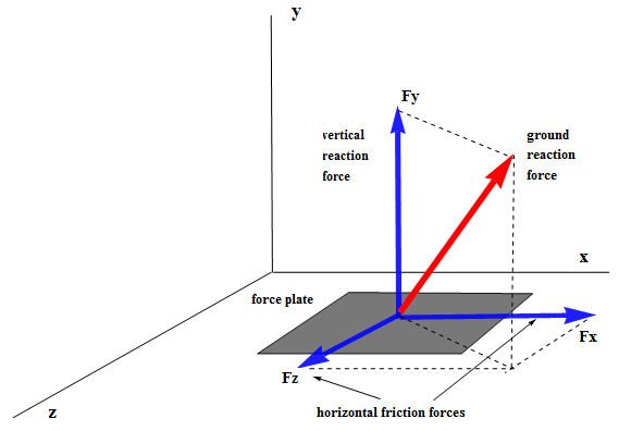 Diagram of Force Plate and Relevant Forces with Axes