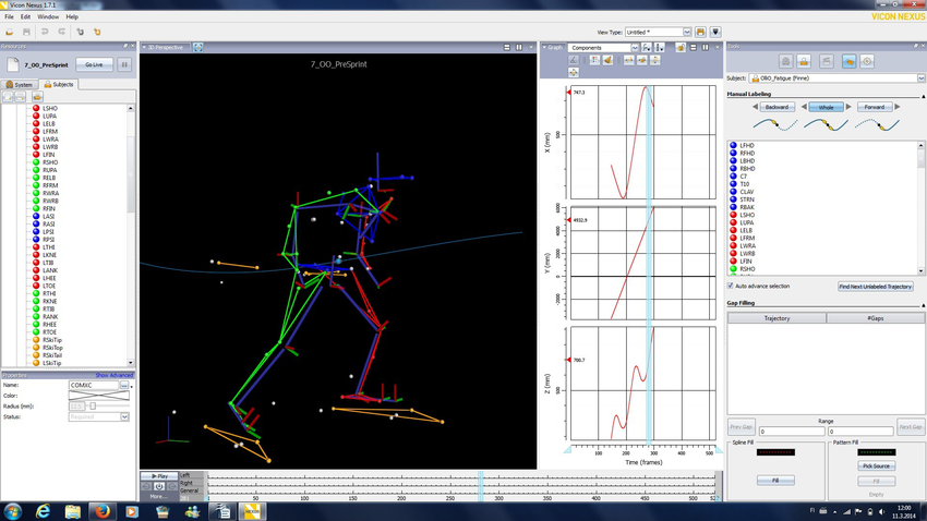 Screen shot of the Vicon Nexus 1.7.1 software showing a motion analysis model of a cross-country skier