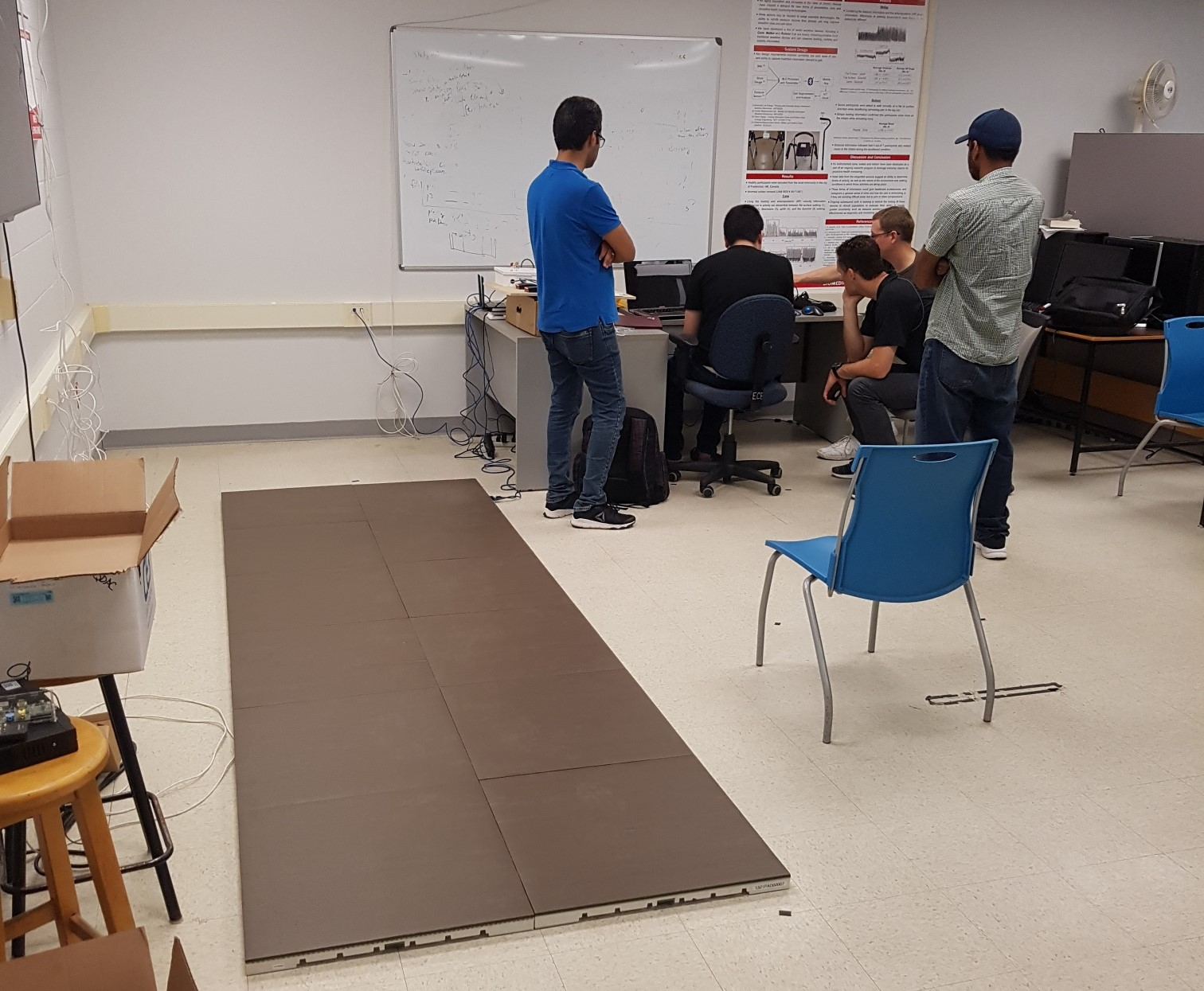 Stepscan floor tiles arranged in 2-by-6 tiles configuration in research laboratory at the University of New Brunswick