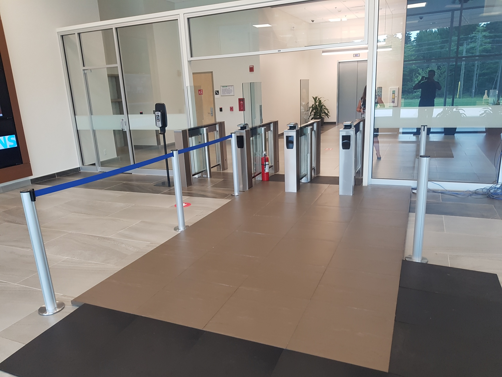 Stepscan floor tiles used as a biometric security system